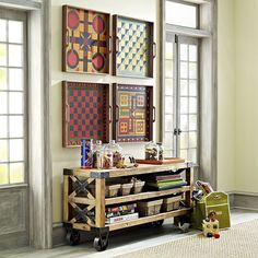 Like the idea of displaying board games on the wall as art (and keeping the pieces in small boxes on a shelf) Board Game Organization, Board Game Storage, Toy Storage, Old Board Games, Game Boards, Gaming Wall Art, Table Games, Game Tables, Vintage Games
