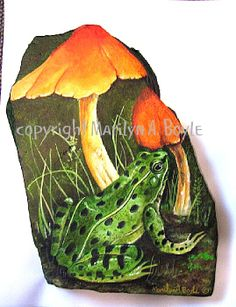Painted frog rocks are same with another rock painting. It proves that a rock can be turning to something valuable. See many examples of this extraordinary frog painted rocks. Pebble Painting, Tole Painting, Pebble Art, Painted Stepping Stones, Painted Rocks, Stone Crafts, Rock Crafts, Frog Rock, Rock Flowers