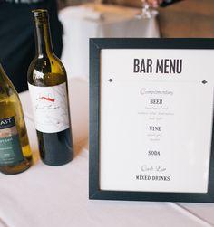 Wedding Decor: Bar Menu - Jenafer Brown Designs