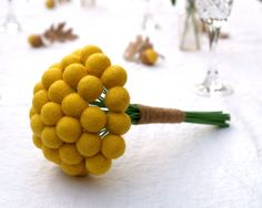 Bridal Bouquet for your Wedding, Yellow Craspedia Flowers, Needle Felt, Everlansting, Billy Button Balls, Classic Country Bride. $45.00, via Etsy.