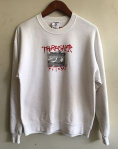 vintage RARE 90s THRASHER F x T x W Skateboards PUNK Sweatshirt Crewneck Powell #thrasher #punk #skateboards