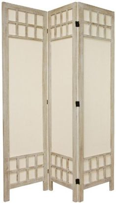 Amazon.com - Oriental Furniture Inexpensive Affordable Low Cost Privacy Screen, 6-Feet Tall Window Pane Fabric Room Divider, Burnt White, 3 ...