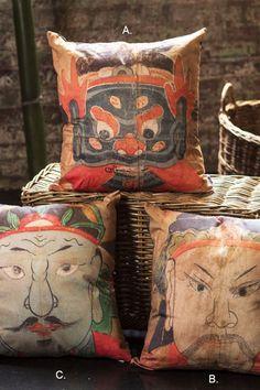 Mothology.com - Vietnamese Shaman Masks Pillows, $49.00 (http://www.mothology.com/vietnamese-shaman-masks-pillows/)
