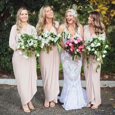But switch the colors... Brights for the bridesmaids and whites for the bride!