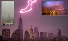 Lightning strikes Empire State Building