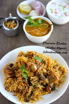 Pressure Cooker Chicken Biryani Recipe with step by step instructions.This would be the best option for bachelors.it tastes exactly like normal authentic . Rice Recipes, Indian Food Recipes, Chicken Recipes, Cooking Recipes, Healthy Recipes, Ethnic Recipes, Curry Recipes, Recipies, Pressure Cooker Chicken