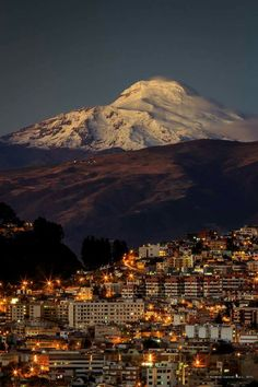 Cayambe volcano at sunset, in a clear day you can see at least 4 volcanoes surronding Quito the Capital of Ecuador. The closest is at least at 80 kilometers from the city. Places Around The World, Around The Worlds, Equador Quito, Spanish Posters, Freedom Travel, Chile, Quito Ecuador, Galapagos Islands, South America