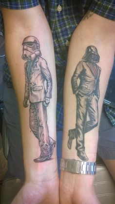 Vader And A Stormtrooper In Suits Make For Great Matching Tattoos