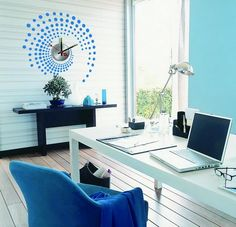 Home Office Decoration Ideas with Clock Wall Decals