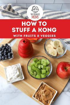 Treat your furry friend to a yummy snack while keeping their mind busy and active. Check out how to stuff a KONG with fruits and veggies - The Produce Moms Blueberry Recipes, Banana Recipes, Apple Recipes, Broccoli Recipes, Cauliflower Recipes, Healthy Treats, Fruits And Vegetables, Yummy Snacks, Superfood