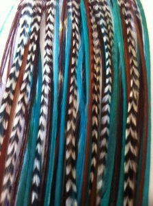 "5 Feathers 4""-6"" Turquoise, Genuine Grizzly & Browns Extension for Hair Extension by SEXY SPARKLES. $5.85. 5 genuine feathers bunched together with a keratin bond to make ONE extension. Two Silicone micro beads are provided The feathers are real so the sizes and lengths are all different. No two feathers are the same -Feathers will not look identical to those shown in photo. Feathers can be washed and curled. Salon Quality Feathers. Color of feathers may slightly..."