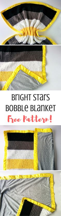 These fun and bright bobble make for an easy crochet blanket pattern! Click through for the full pattern