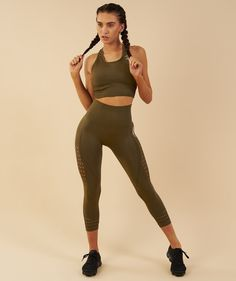 Gymshark Seamless Energy High Waisted Cropped Leggings - Khaki 4