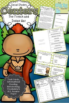 French and Indian War social studies unit. Task Cards, Printables for Note booking and all answer keys!