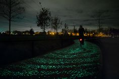 """Advocating for Glow-in-the-Dark Roads with Vincent van Gogh - """"A glow-in-the-dark bike route inspired by Vincent van Gogh's """"Starry Night"""" debuted this week in the Netherlands. It's part of a larger vision to illuminate infrastructure with solar energy captured during the day."""""""
