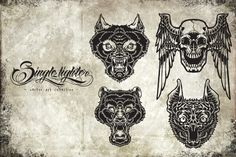 Check out Wild Head Monochrome Package by sin9lefighter on Creative Market