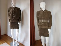 Vintage Valentino- buttery soft suede mini skirt and ribbed bomber jacket set!