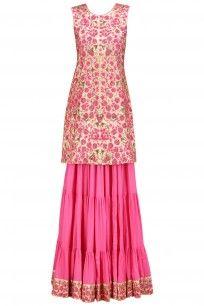 Gold and Pink Floral Embroidered Skirt and Kurta Set #surendri #yogeshchauhdhary #shopnow #ethnic #ppus #happyshopping