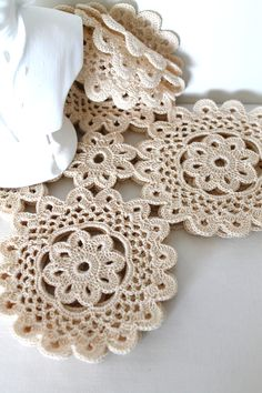 Handmade Doily Set of Four Squares Honey Cream Vintage Thread Doilies.