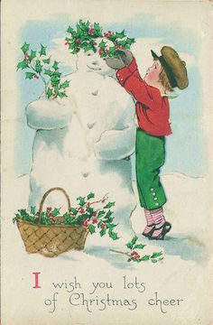 vintage Christmas card boy with snowman and holly