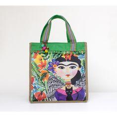 """Bolsa """"Cute - Frida Kahlo - Aquarela"""" - 3074"""