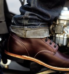 Leather shoes. Cuff jeans