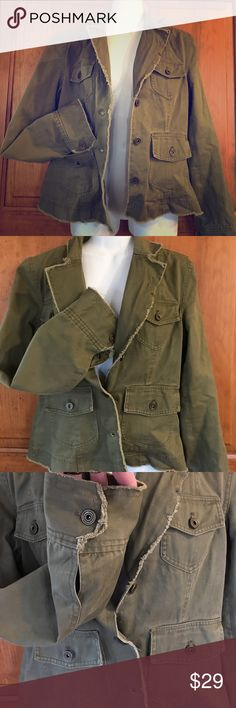 MAURICES M army green distressed utility coat MAURICES Medium army green distressed utility coat jacket blazer. Adorable distressed amazing like new condition so cute and flattering! Maurices Jackets & Coats Utility Jackets