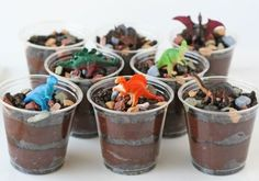 I love this updated dirt pudding!  So fun!! 10 Fun Dinosaur Snacks