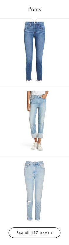 """Pants"" by doratemplam ❤ liked on Polyvore featuring jeans, pants, bottoms, calça, high rise cropped jeans, high rise jeans, high-waisted jeans, cropped frayed jeans, cuffed cropped jeans and berkshire"