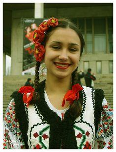 Girl in Moldovan (Chișinău) traditional dress.