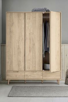 Buy Oslo Triple Wardrobe from the Next UK online shop Corner Wardrobe, Wardrobe Doors, Triple Wardrobe, Chest Dresser, Dressing Table Mirror, Extra Bedroom, Single Doors, Light Oak, Storage Cabinets