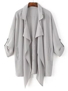 Adjustable Sleeve Asymmetrical Trench Coat