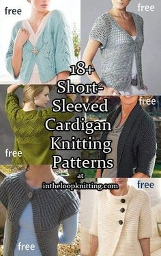 Knitting patterns for Short Sleeved Cardigans, most of the patterns are free