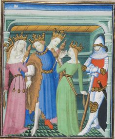 Note how the distaff is tuckef into belt.      BGE Ms. fr. 190/1 Des cas des nobles hommes et femmes. Fol 60, 1410, Paris. I see the king is spinning too