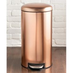 Copper Pedal Bin 30L. A practical and stylish addition to your kitchen. Includes removeable inner bin for easy cleaning and non-slip base. Household range