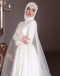Muslimah Wedding Dress, Bridal Hijab, Disney Wedding Dresses, Muslim Brides, Pakistani Wedding Dresses, Muslim Wedding Gown, Arabic Wedding Dresses, Bridal Wedding Dresses, Dream Wedding Dresses