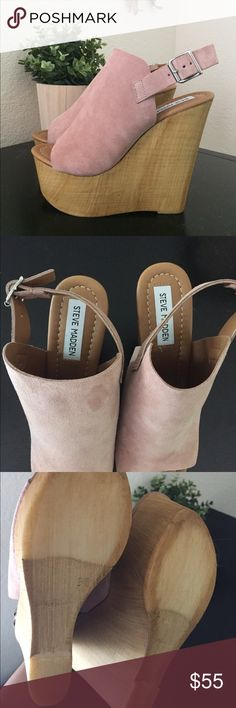 NWOT Steve Madden brandey wedges brand new!!! cute baby pink side color with wooden heel. surprisingly very comfortable (I have 2 other colors) lol , no box, originally $129.95 but on website now for $80 Steve Madden Shoes Wedges