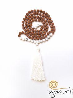 Charm- & Bettelketten - Howlith Rudraksha Mala 108  - ein Designerstück von Yoarli bei DaWanda