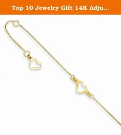 Top 10 Jewelry Gift 14K Adjustable Fancy Heart Anklet. 14K Adjustable Fancy Heart Anklet Polished - 14k Yellow gold - Spring Ring - 1 extender - Diamond Cut Size: 0 Length: 9 Weight: 1.02 Jewelry item comes with a FREE gift box. Re-sized or altered items are not subject for a return. 14K Adjustable Fancy Heart Anklet Product Type:Jewelry Jewelry Type:Anklets Anklet Type:Fashion Material: Primary:Gold Material: Primary - Color:Yellow Material: Primary - Purity:14K Sold By Unit:Each Chain...