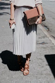 Sweater, pleated midi skirt, clutch, sandals