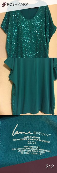 Lane Bryant sequined blouse. Cute Sequined blouse. Lane Bryant. Teal Color. New No tags. Size 22/24. No trades. Thank you for checking out my listing! 🤓 Lane Bryant Tops Blouses