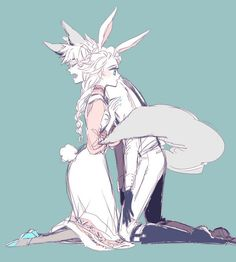 Jelsa: bunny and wolf. *Does eyebrow dance* I like where this is going...