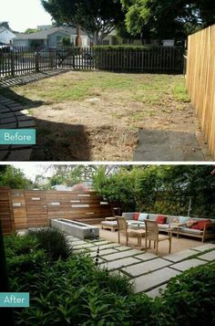 Summer style!! Makeover Before and After for a neglected yard to a wonderful garden and patio with modern and contemporary vibes!