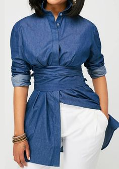 Curved Navy Blue Button Up Blouse, unique pattern makes you fashion, more fashion designs at rosewe,com, new sign up 15%, don't wait.
