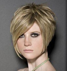 short, stacked hair, swoop bangs