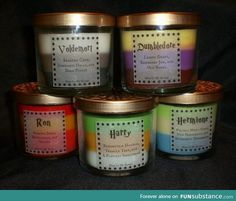 Harry Potter candles, this is beautiful! it's like the love potion Amortentia and the scent is what the characters smell when they smell the potion. These are the scents of the people they love. For example, Harry's candle smells of Ginny Weasley