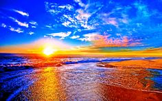 Earth Sunset  Sunrise Sea Reflection Scenic Nature Beach Sunny Horizon Colorful Wallpaper