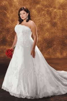 Hot Selling Charming A Line Strapless Court Train Plus Size Bridal Dress USD 266.19 EPP2THDJ88 - ElleProm.com -  For more amazing deals visit us at http://www.brides-book.com/#!brides-book-outlets/ck9l and remember to join the VIB Ciub