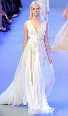 Chiffon Long Prom Dresses Draped Sash V-Neck V-Back Boho Wedding Dress