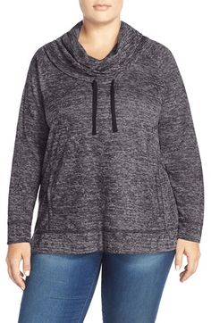 Sejour Heathered Cowl Neck Pullover (Plus Size)